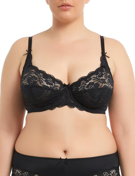 Lyric Curve Crystal Lace Underwire Soft Cup Bra Black, C-DD product photo