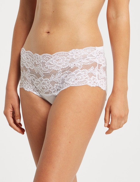 Lyric Boyleg Bandeau Floral Lace Brief, White product photo