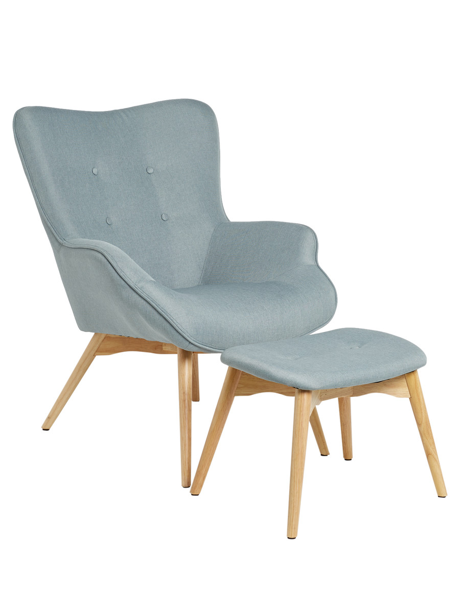 Luca Mabel Armchair with Footstool, Dusty Green - 13203