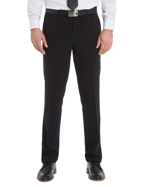 Chisel Flat Front Plain Pant, Tailored Fit, Black product photo