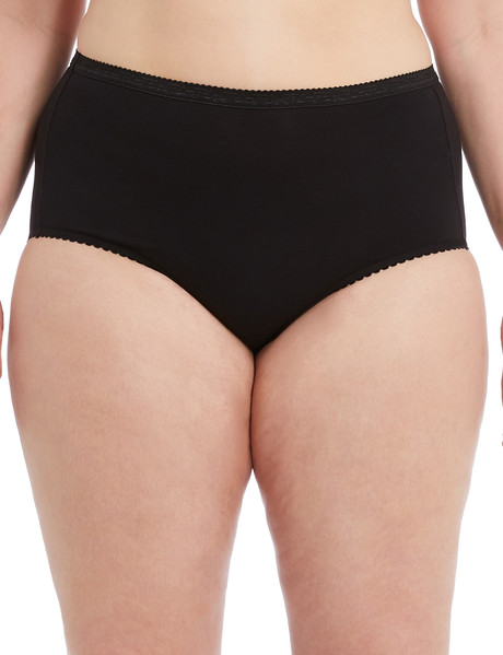 Lyric Curve Cotton Jacquard Full Brief, Black product photo
