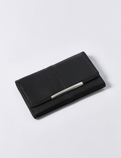 Milano Leather & PU Flap Wallet with Bar, Black product photo