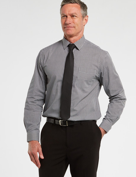 Chisel Formal Long Sleeve Mini Check Shirt, Black product photo
