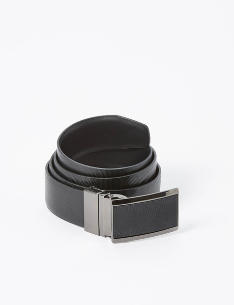 Laidlaw + Leeds Reversible Textured Box Buckle Belt, Black product photo