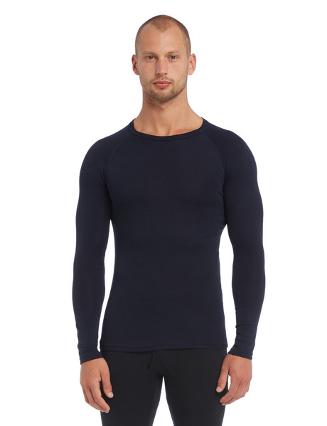 Superfit Long-Sleeve Polyester-Viscose Crew Neck Top, Navy product photo