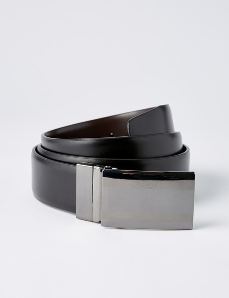 Laidlaw + Leeds Reversible Feather Edge Box Buckle Belt, Black/Brown product photo