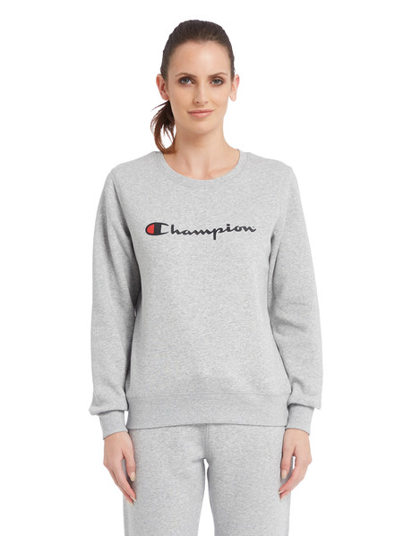 Champion Crew Neck Script Sweatshirt, Oxford Heather product photo