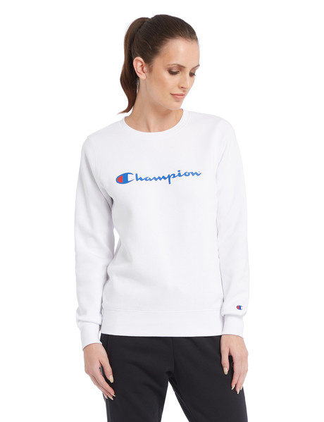 Champion Crew Neck Script Sweatshirt, White product photo