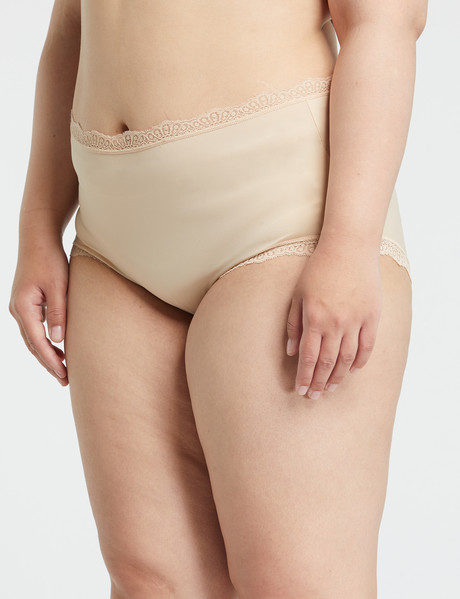 Lyric Plus Microfibre Lace Full Brief, Nude product photo