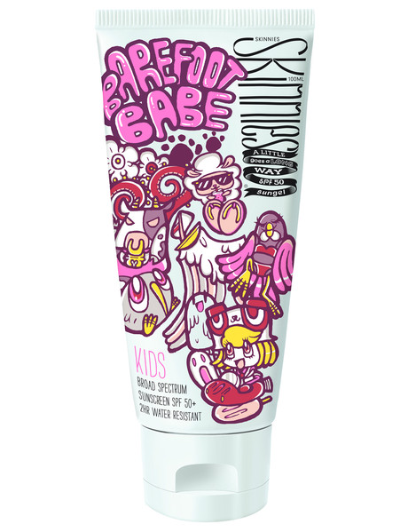 Skinnies Sunscreen Kids Barefoot Babe Waterless Gel Sunscreen, 100ml, SPF 50+ product photo