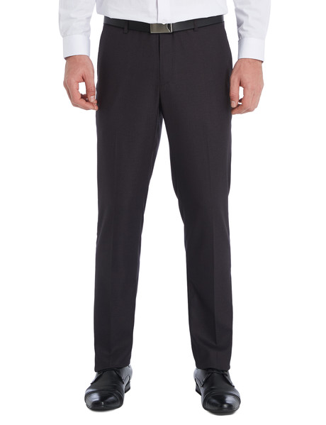 Chisel Formal Flat Front Herringbone Pant, Classic Fit, Charcoal Grey product photo