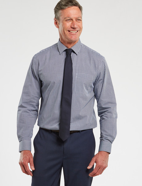 Chisel Formal Long-Sleeve Mini Check Shirt, Navy product photo