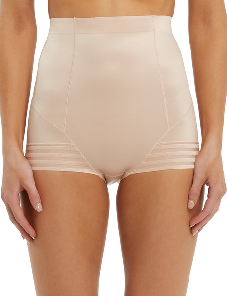Lyric High-Waist Shaping Brief, Stripe, Nude product photo