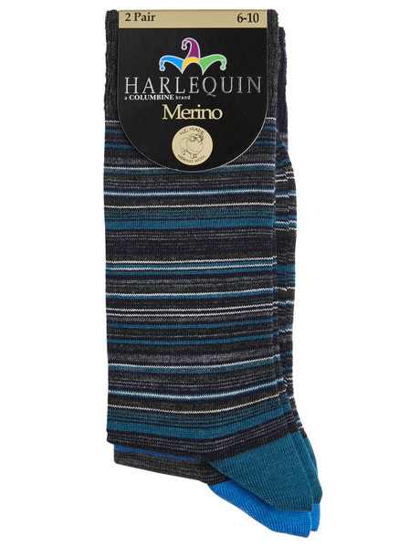 Harlequin Merino Blend Stripe Dress Sock, 2-Pack product photo