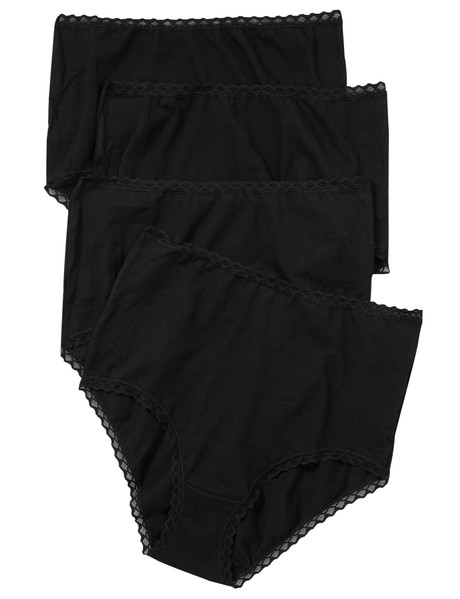 Lyric 4 Pack Full Brief with Lace Trim, Black product photo
