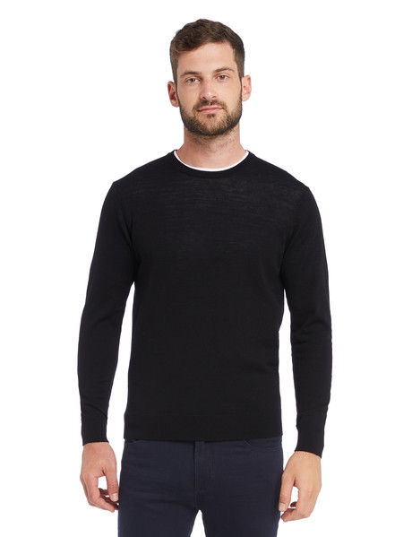 North South Merino Crew Neck Jumper, Black product photo