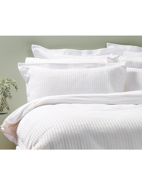 Kate Reed Waffle Duvet Cover Set, White product photo