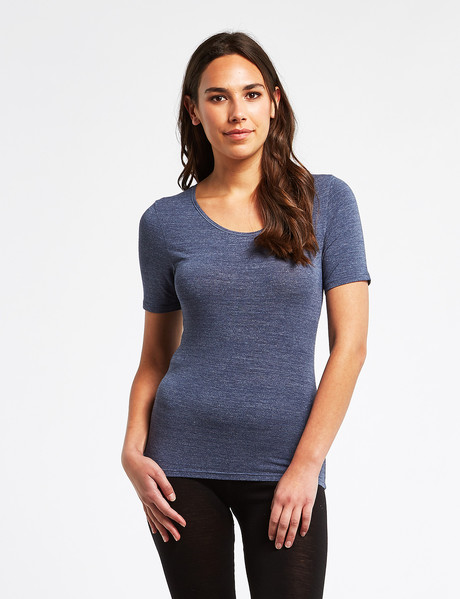 Lyric Thermals Mia Bamboo Short-Sleeve Top, Blue Marle product photo