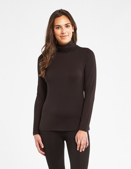 Bodycode Long Sleeve Roll Neck Top, Black product photo