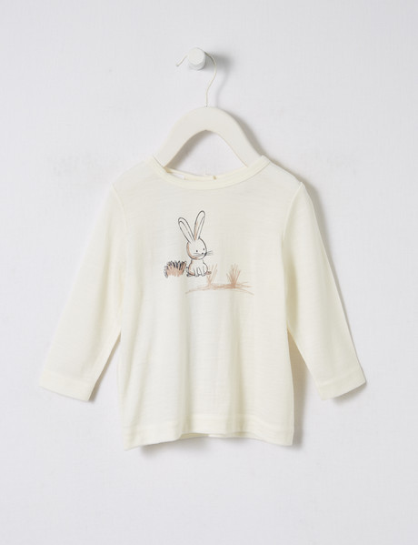 Teeny Weeny Merino Bunny Garden Long-Sleeve Top, Whisper White product photo