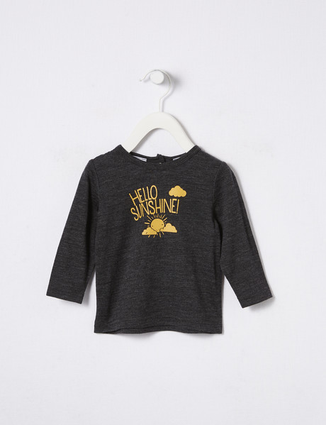 Teeny Weeny Merino Hello Sunshine Long-Sleeve Top, Charcoal Marle product photo