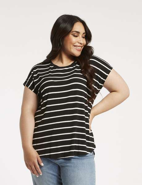 Studio Curve Stripe Viscose Boxy Tee, Black & White product photo