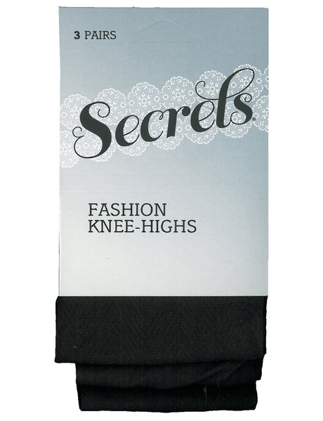 Secrets Patterned Knee-Highs, 3-Pack, Black product photo