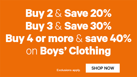Buy 2 & Save 20% Buy 3 & Save 30% Buy 4 or more & save 40%  on Boys' Clothing