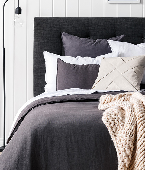 Domani Toscana Duvet Cover Set, Charcoal