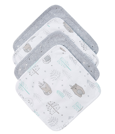 Little Textile Face Washer, 4-Pack, Woodlands & Star
