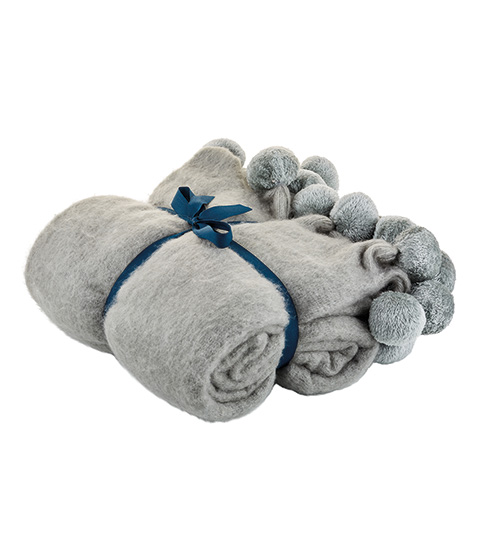Tilly@home Faux Mohair Bobbles Throw, Grey