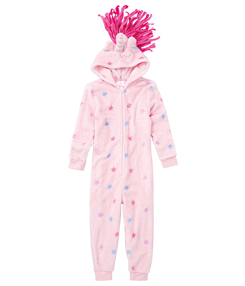 Tickled Pink Coral Fleece Onesie, Mythical Unicorn