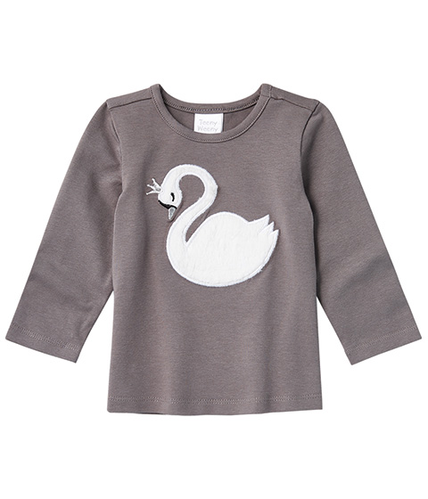 Teeny Weeny Swan Print Long-Sleeve Tee, Charcoal