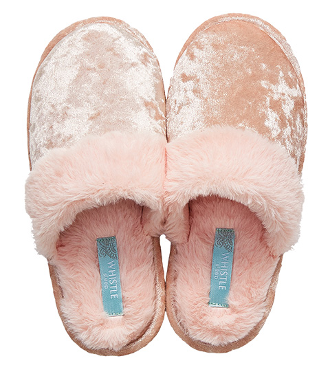 Whistle Crushed Velvet Fur Scuff, Blush