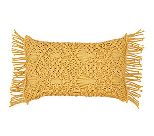 Tilly@home Macrame Tassel Cushion, Mustard