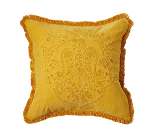 Your Home And Garden Carmona Stonewash Cushion, Yellow