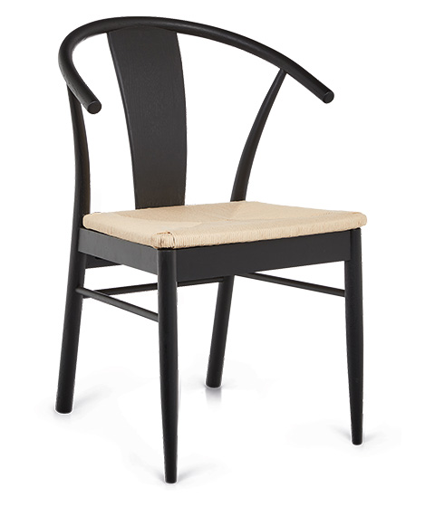 Luca Hampton Dining Chair, Black/Natural