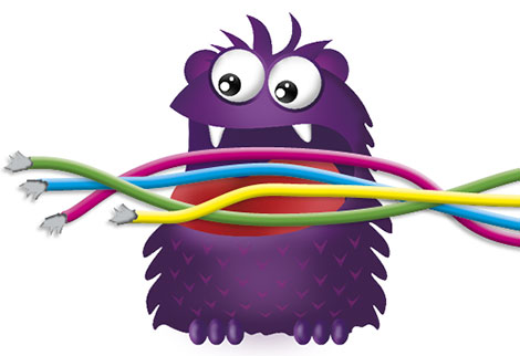 Cartoon of the Farmers Toy Sale monster eating network cables