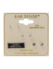 Earsense Cubic Zirconia Studs, Silver, 3-Pairs product photo
