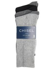 Chisel Cushioned Foot Casual Crew Sock, 3-Pack, Grey product photo