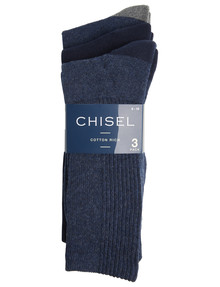 Chisel Cushioned Foot Casual Crew Sock, 3-Pack, Navy product photo