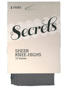 Secrets Sheer Knee-High 2-Pair Pack, 15 Denier product photo