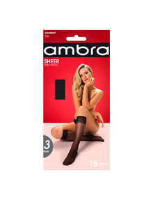 Ambra Sheer Knee-Highs, 3-Pack, 15 Denier product photo