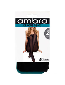 Ambra Opaque Tights, 40 Denier, 2-Pack, Black product photo