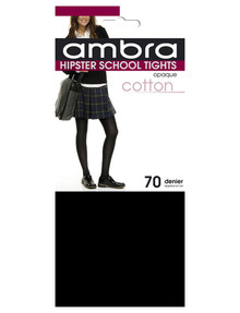 Ambra Cotton Hipster School Tight, 70 Denier, Black product photo