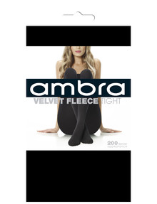 Ambra Velvet Fleece Tight, 200 Denier, Black product photo