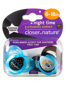 Tommee Tippee Nightime Soother, 6-18M, 2pk, Assorted product photo