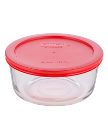 Pyrex Round Baking Dish with Red Storage Lid, 950ml product photo