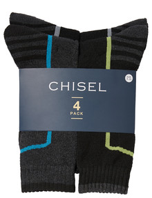 Chisel Thermal Terry Sock, 4-Pack, Black & Grey product photo