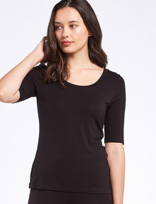 Bodycode Ballet Sleeve Scoop Neck Tee, Black product photo
